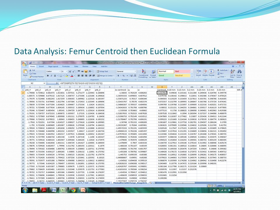 Data Analysis: Femur Centroid then Euclidean Formula