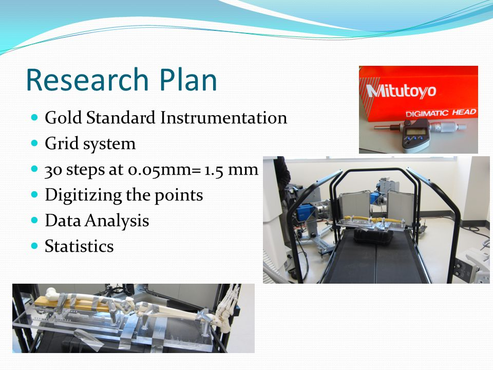 Research Plan Gold Standard Instrumentation Grid system 30 steps at 0.05mm= 1.5 mm Digitizing the points Data Analysis Statistics