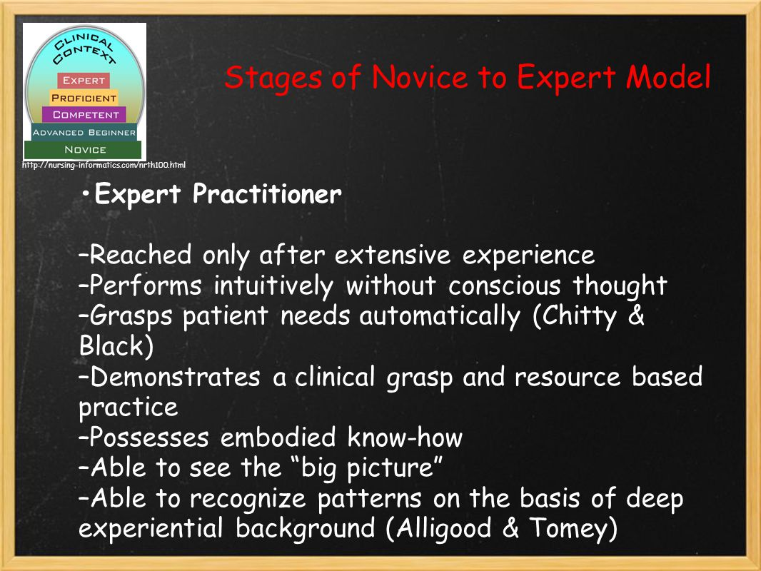 Stages of Novice to Expert Model Expert Practitioner –Reached only after extensive experience –Performs intuitively without conscious thought –Grasps patient needs automatically (Chitty & Black) –Demonstrates a clinical grasp and resource based practice –Possesses embodied know-how –Able to see the big picture –Able to recognize patterns on the basis of deep experiential background (Alligood & Tomey) http://nursing-informatics.com/nrth100.html