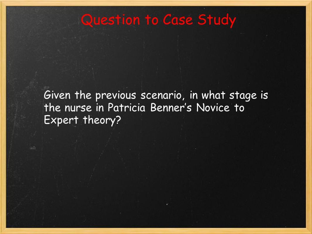 Question to Case Study Given the previous scenario, in what stage is the nurse in Patricia Benner's Novice to Expert theory?