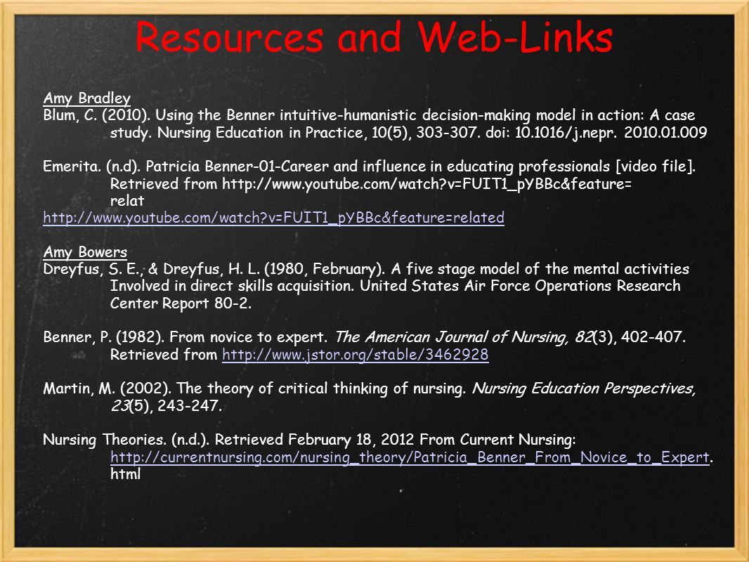 Resources and Web-Links Amy Bradley Blum, C.(2010).