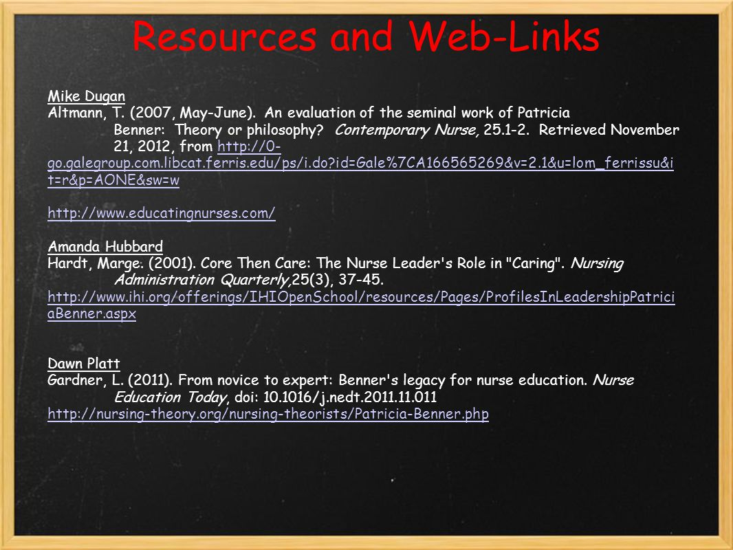 Resources and Web-Links Mike Dugan Altmann, T.(2007, May-June).