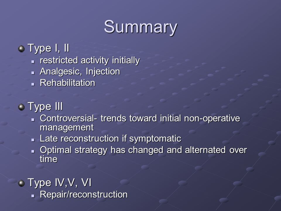 Summary Type I, II restricted activity initially restricted activity initially Analgesic, Injection Analgesic, Injection Rehabilitation Rehabilitation Type III Controversial- trends toward initial non-operative management Controversial- trends toward initial non-operative management Late reconstruction if symptomatic Late reconstruction if symptomatic Optimal strategy has changed and alternated over time Optimal strategy has changed and alternated over time Type IV,V, VI Repair/reconstruction Repair/reconstruction