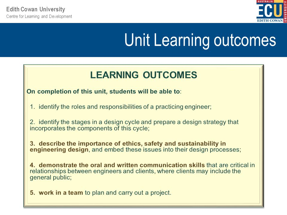 Centre for Learning and Development Edith Cowan University Unit Learning outcomes