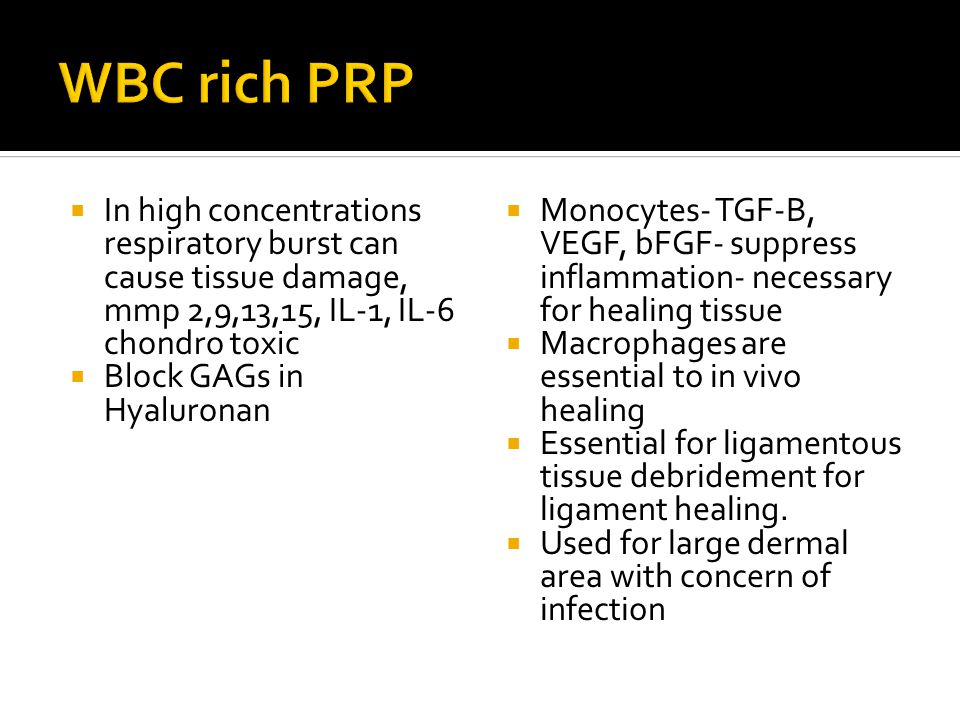  In high concentrations respiratory burst can cause tissue damage, mmp 2,9,13,15, IL-1, IL-6 chondro toxic  Block GAGs in Hyaluronan  Monocytes- TG