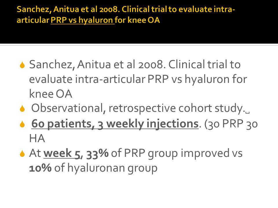  Sanchez, Anitua et al 2008. Clinical trial to evaluate intra-articular PRP vs hyaluron for knee OA  Observational, retrospective cohort study. ␣ 