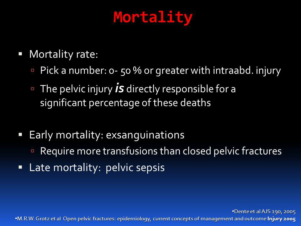 Mortality  Mortality rate:  Pick a number: 0- 50 % or greater with intraabd. injury  The pelvic injury is directly responsible for a significant pe