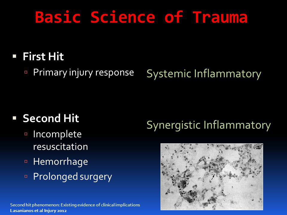 Basic Science of Trauma  First Hit  Primary injury response  Second Hit  Incomplete resuscitation  Hemorrhage  Prolonged surgery Systemic Inflam