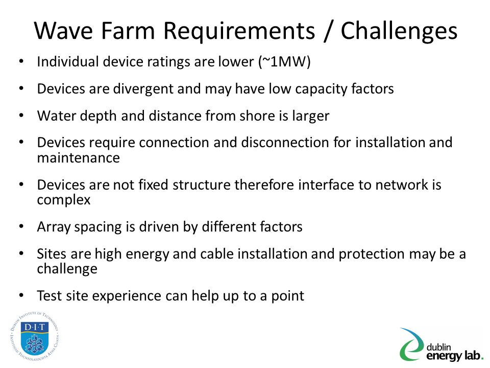 Techno-Economic Optimisation 1.State of the art – Offshore Wind and Wave Test Sites 2.Wave Farm Electrical Network Roadmap 3.Key Interfaces 4.Economics of WEC Array Electrical Networks 5.System Issues – Flicker and Grid Access