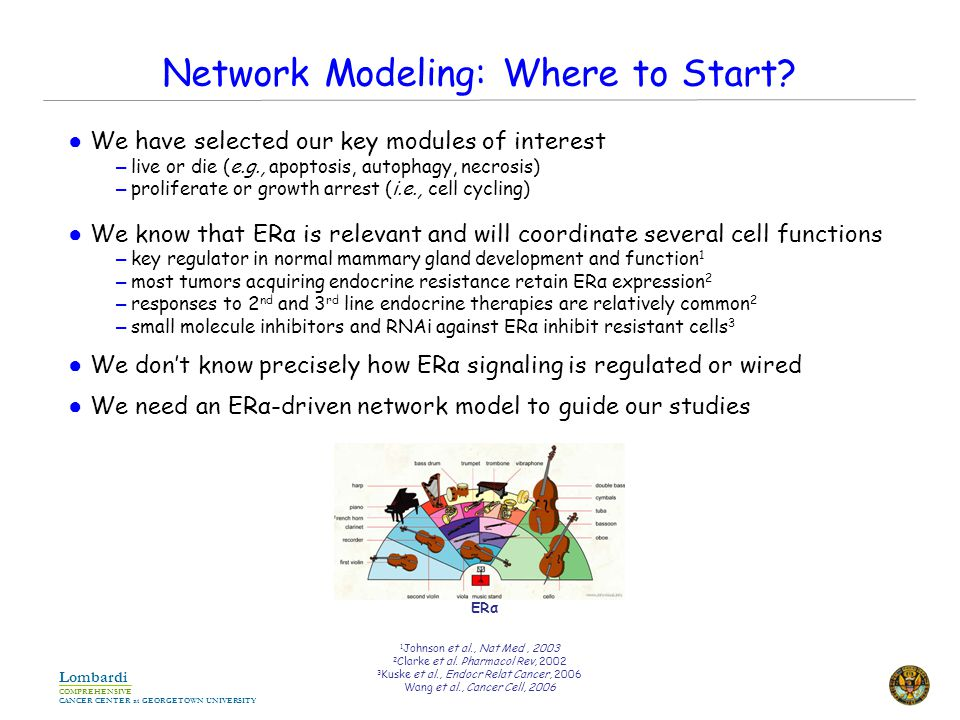 COMPREHENSIVE CANCER CENTER at GEORGETOWN UNIVERSITY Lombardi Network Modeling: Where to Start.