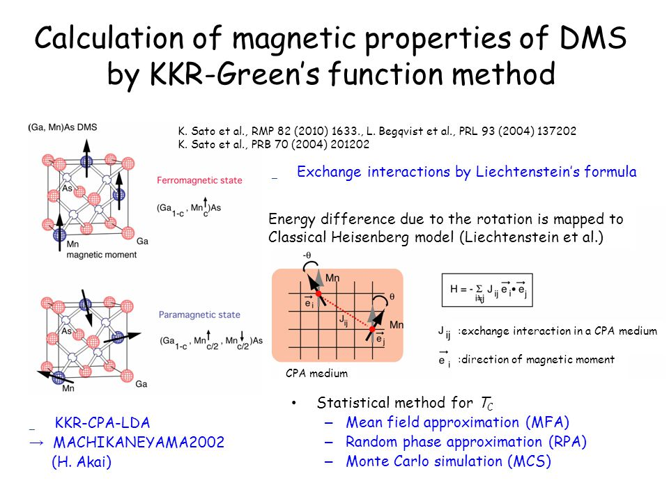 Calculation of magnetic properties of DMS by KKR-Green's function method Statistical method for T C – Mean field approximation (MFA) – Random phase approximation (RPA) – Monte Carlo simulation (MCS) K.