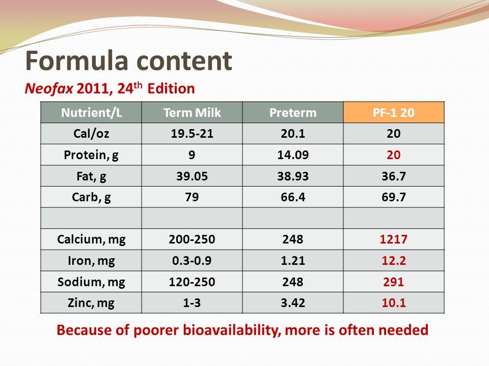 Formula content Neofax 2011, 24 th Edition Nutrient/LTerm MilkPretermPF-1 20 Cal/oz19.5-2120.120 Protein, g914.0920 Fat, g39.0538.9336.7 Carb, g7966.4