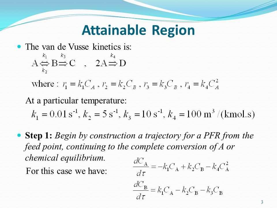 Attainable Region The van de Vusse kinetics is: At a particular temperature: Step 1: Begin by construction a trajectory for a PFR from the feed point, continuing to the complete conversion of A or chemical equilibrium.