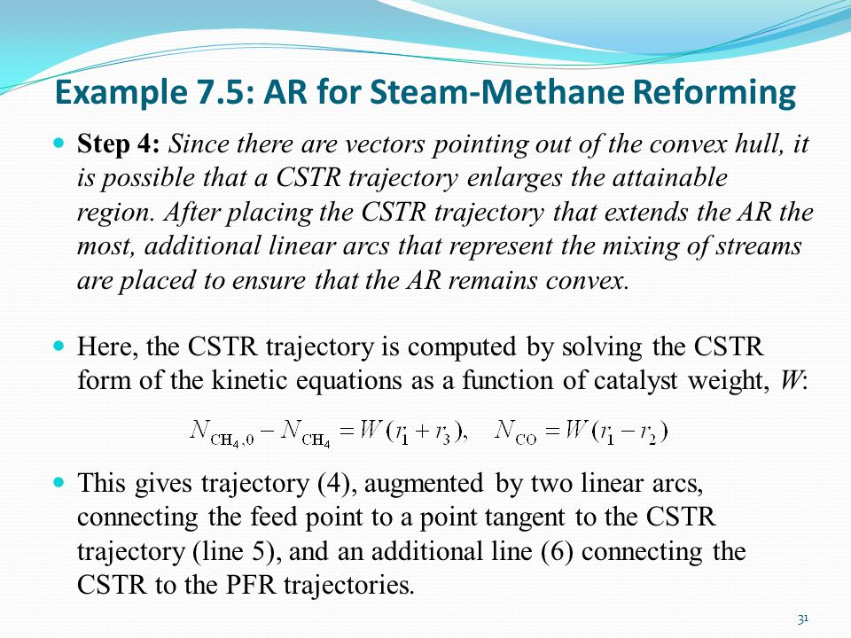 Example 7.5: AR for Steam-Methane Reforming Step 4: Since there are vectors pointing out of the convex hull, it is possible that a CSTR trajectory enlarges the attainable region.