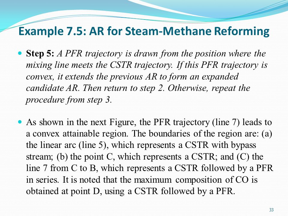 Example 7.5: AR for Steam-Methane Reforming Step 5: A PFR trajectory is drawn from the position where the mixing line meets the CSTR trajectory.
