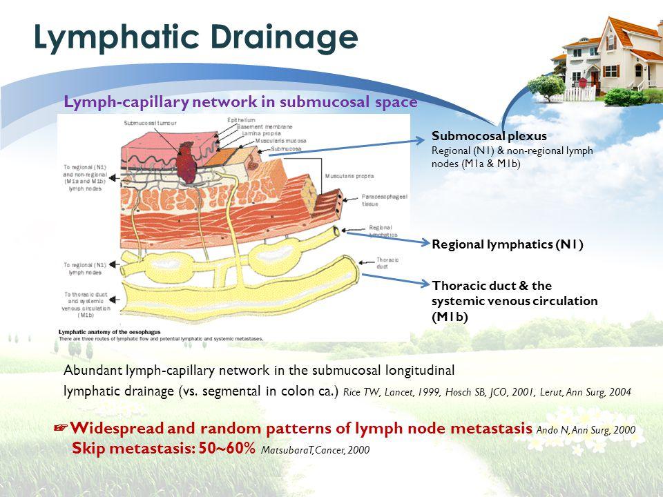 Lymphatic Drainage Regional lymphatics (N1) Submocosal plexus Regional (N1) & non-regional lymph nodes (M1a & M1b) Thoracic duct & the systemic venous circulation (M1b) Abundant lymph-capillary network in the submucosal longitudinal lymphatic drainage (vs.