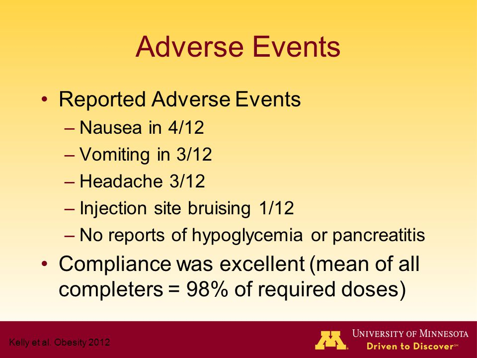 Adverse Events Reported Adverse Events –Nausea in 4/12 –Vomiting in 3/12 –Headache 3/12 –Injection site bruising 1/12 –No reports of hypoglycemia or p