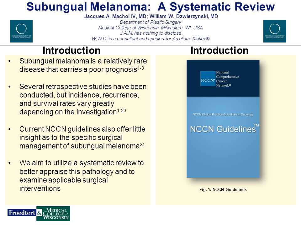Subungual Melanoma: A Systematic Review Jacques A. Machol IV, MD; William W. Dzwierzynski, MD Department of Plastic Surgery Medical College of Wiscons