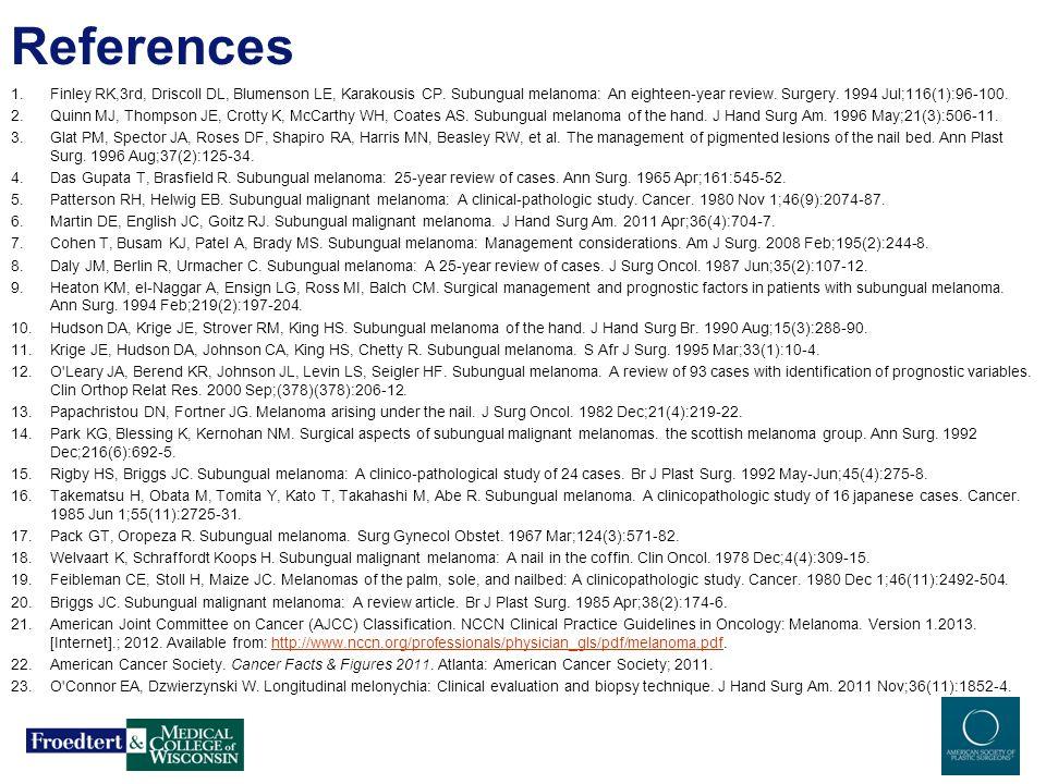 References 1.Finley RK,3rd, Driscoll DL, Blumenson LE, Karakousis CP. Subungual melanoma: An eighteen-year review. Surgery. 1994 Jul;116(1):96-100. 2.