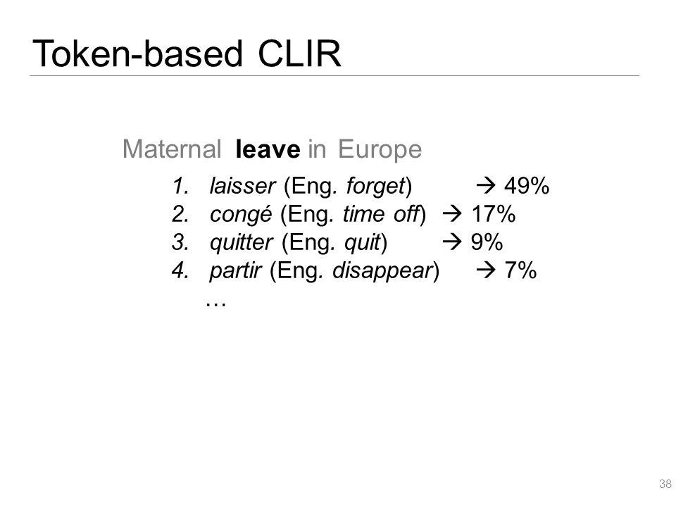 Token-based CLIR 38 MaternalleaveinEurope 1.laisser (Eng. forget)  49% 2.congé (Eng. time off)  17% 3.quitter (Eng. quit)  9% 4.partir (Eng. disapp