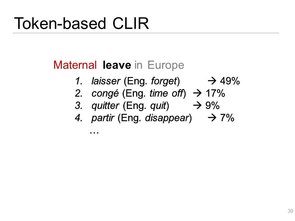 1.laisser (Eng. forget)  49% 2.congé (Eng. time off)  17% 3.quitter (Eng.