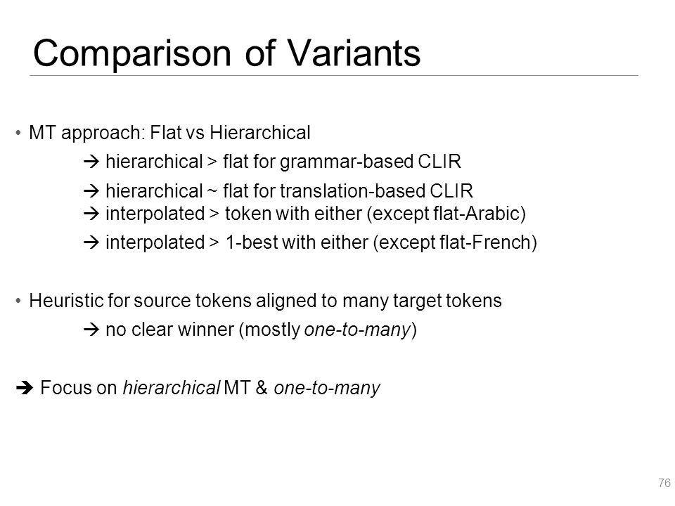 Comparison of Variants MT approach: Flat vs Hierarchical  hierarchical > flat for grammar-based CLIR  hierarchical ~ flat for translation-based CLIR  interpolated > token with either (except flat-Arabic)  interpolated > 1-best with either (except flat-French) Heuristic for source tokens aligned to many target tokens  no clear winner (mostly one-to-many)  Focus on hierarchical MT & one-to-many 76