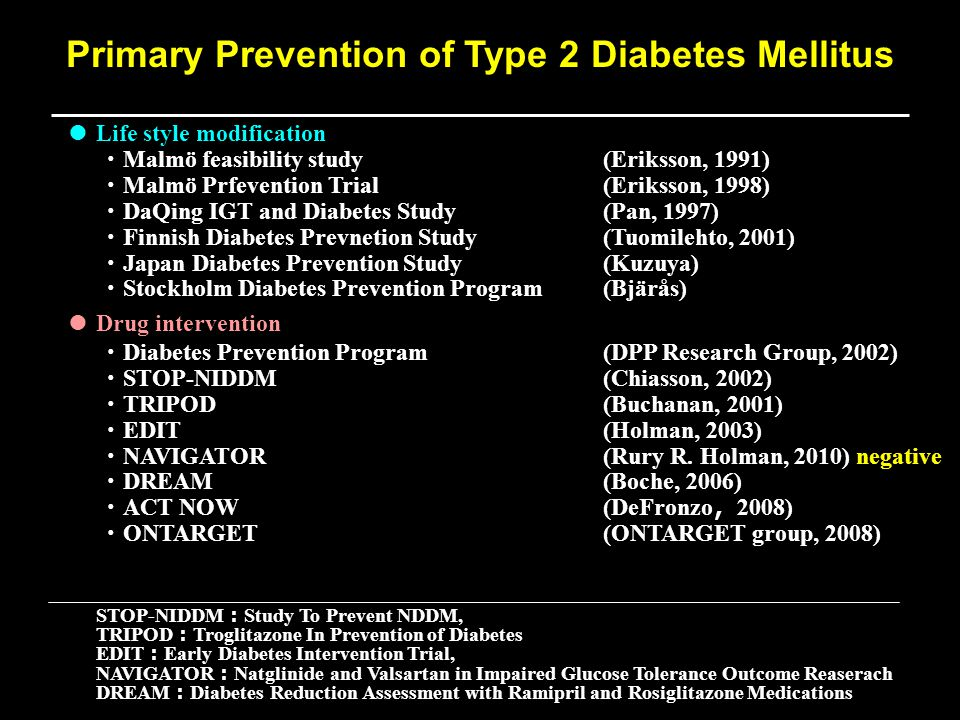 ● Life style modification ・ Malmö feasibility study(Eriksson, 1991) ・ Malmö Prfevention Trial(Eriksson, 1998) ・ DaQing IGT and Diabetes Study(Pan, 1997) ・ Finnish Diabetes Prevnetion Study(Tuomilehto, 2001) ・ Japan Diabetes Prevention Study(Kuzuya) ・ Stockholm Diabetes Prevention Program(Bjärås) ● Drug intervention ・ Diabetes Prevention Program(DPP Research Group, 2002) ・ STOP-NIDDM(Chiasson, 2002) ・ TRIPOD(Buchanan, 2001) ・ EDIT(Holman, 2003) ・ NAVIGATOR(Rury R.