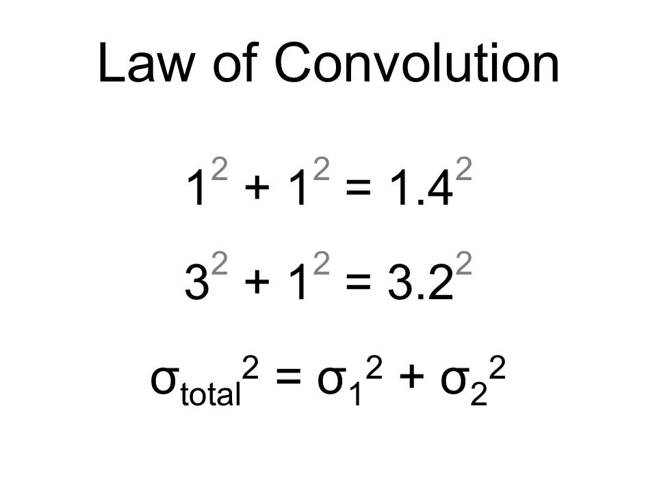 Law of Convolution 1 2 + 1 2 = 1.4 2 3 2 + 1 2 = 3.2 2 σ total 2 = σ 1 2 + σ 2 2