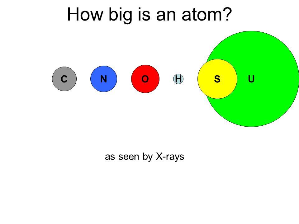 U How big is an atom C N O S H as seen by X-rays