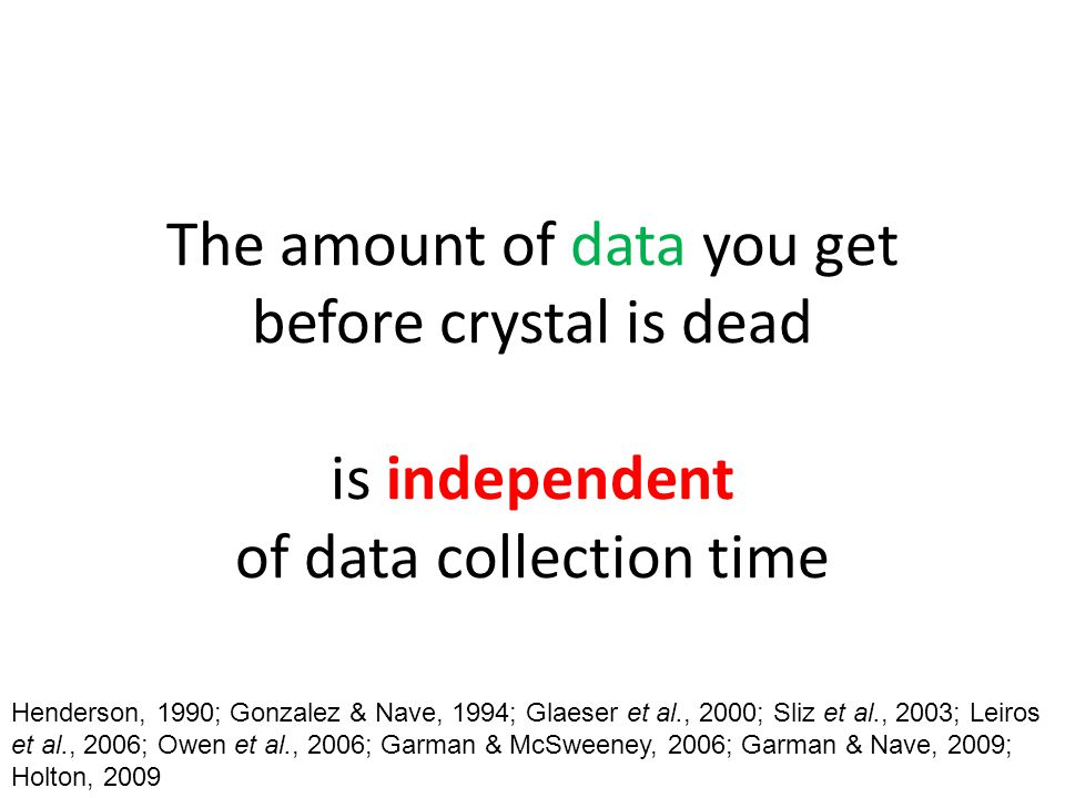 The amount of data you get before crystal is dead is independent of data collection time Henderson, 1990; Gonzalez & Nave, 1994; Glaeser et al., 2000;