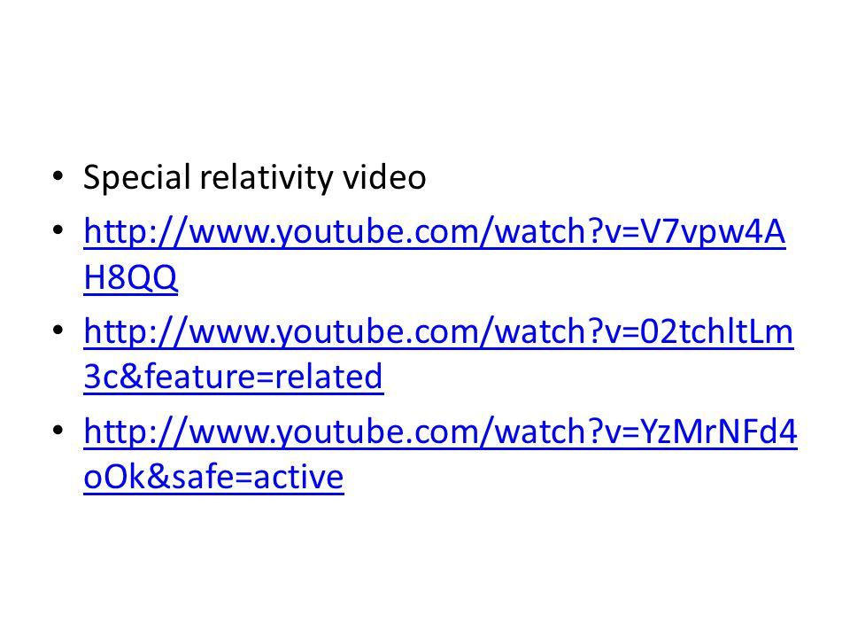 Special relativity video http://www.youtube.com/watch v=V7vpw4A H8QQ http://www.youtube.com/watch v=V7vpw4A H8QQ http://www.youtube.com/watch v=02tchltLm 3c&feature=related http://www.youtube.com/watch v=02tchltLm 3c&feature=related http://www.youtube.com/watch v=YzMrNFd4 oOk&safe=active http://www.youtube.com/watch v=YzMrNFd4 oOk&safe=active
