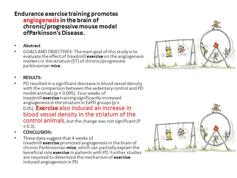 Endurance exercise training promotes angiogenesis in the brain of chronic/progressive mouse model ofParkinson s Disease.