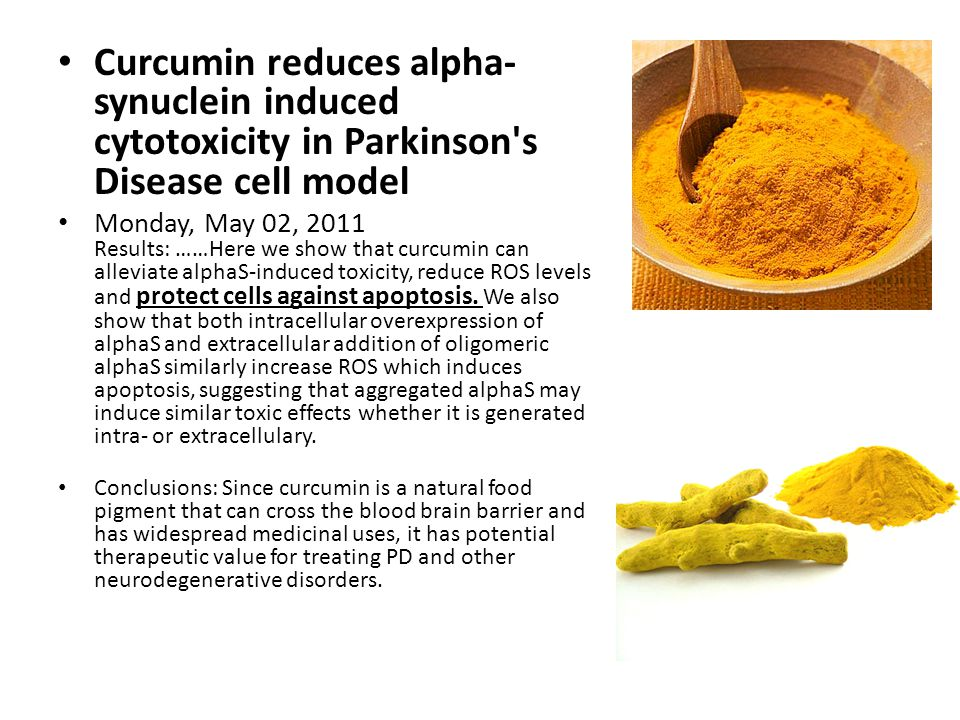 Curcumin reduces alpha- synuclein induced cytotoxicity in Parkinson s Disease cell model Monday, May 02, 2011 Results: ……Here we show that curcumin can alleviate alphaS-induced toxicity, reduce ROS levels and protect cells against apoptosis.
