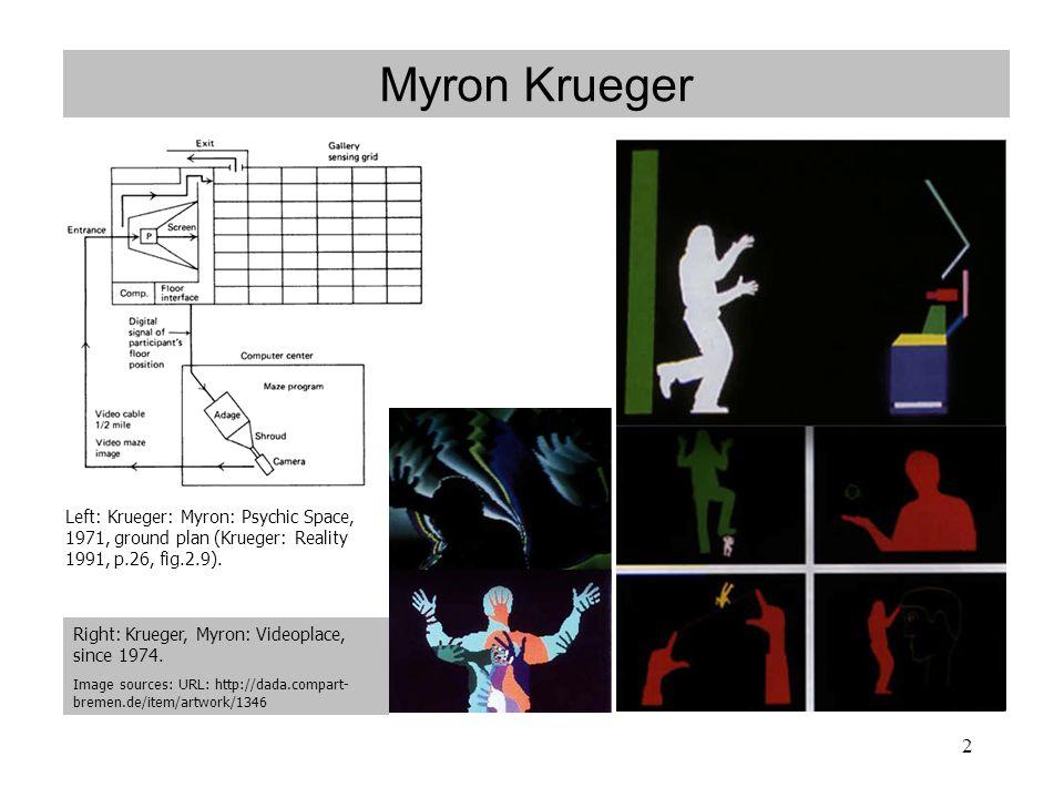 2 Myron Krueger Left: Krueger: Myron: Psychic Space, 1971, ground plan (Krueger: Reality 1991, p.26, fig.2.9).