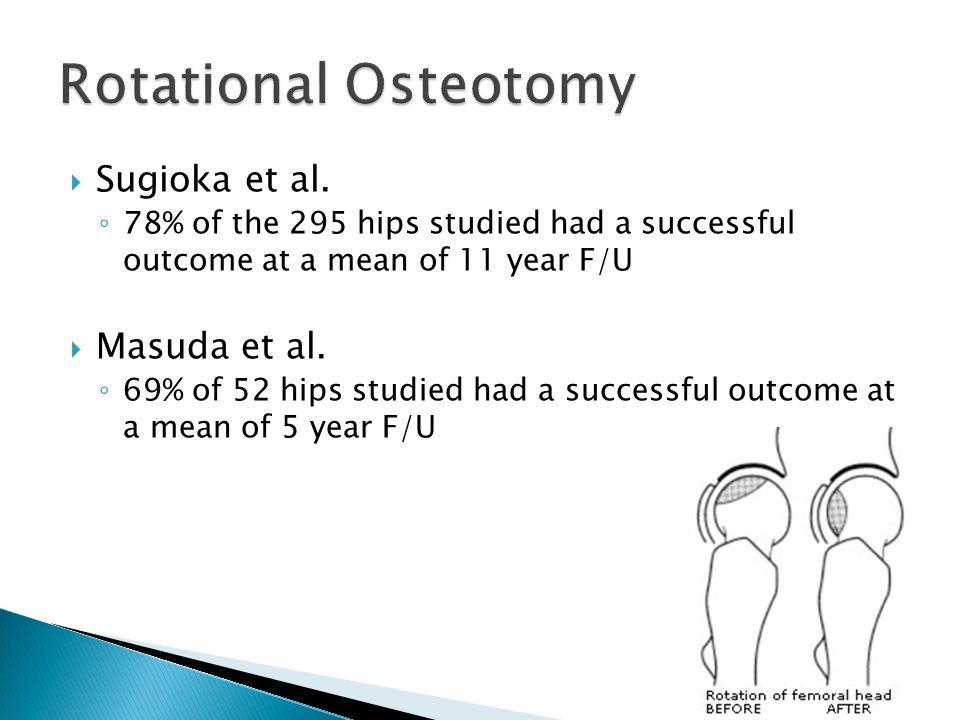  Sugioka et al. ◦ 78% of the 295 hips studied had a successful outcome at a mean of 11 year F/U  Masuda et al. ◦ 69% of 52 hips studied had a succes