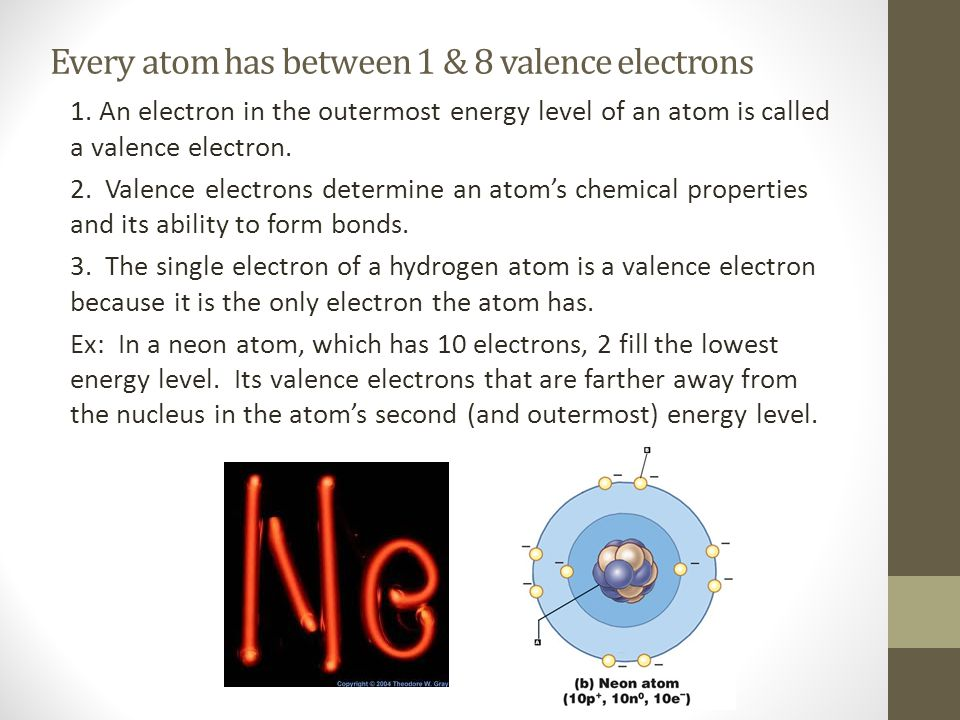 Every atom has between 1 & 8 valence electrons 1. An electron in the outermost energy level of an atom is called a valence electron. 2. Valence electr
