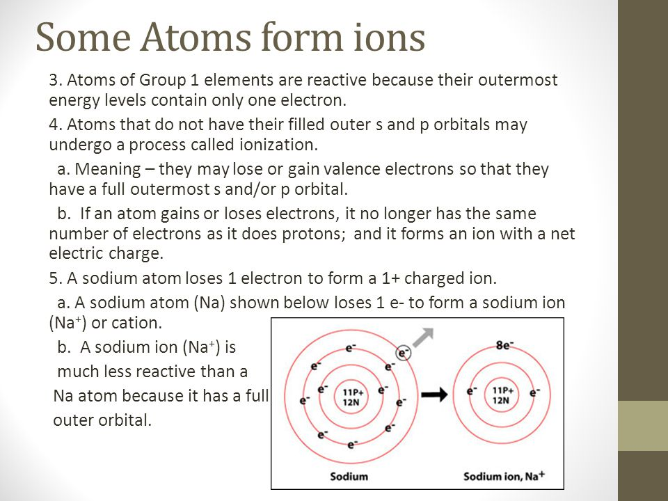 Some Atoms form ions 3. Atoms of Group 1 elements are reactive because their outermost energy levels contain only one electron. 4. Atoms that do not h