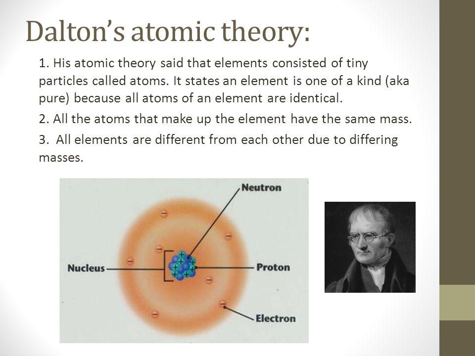 John Dalton's atomic theory 1.