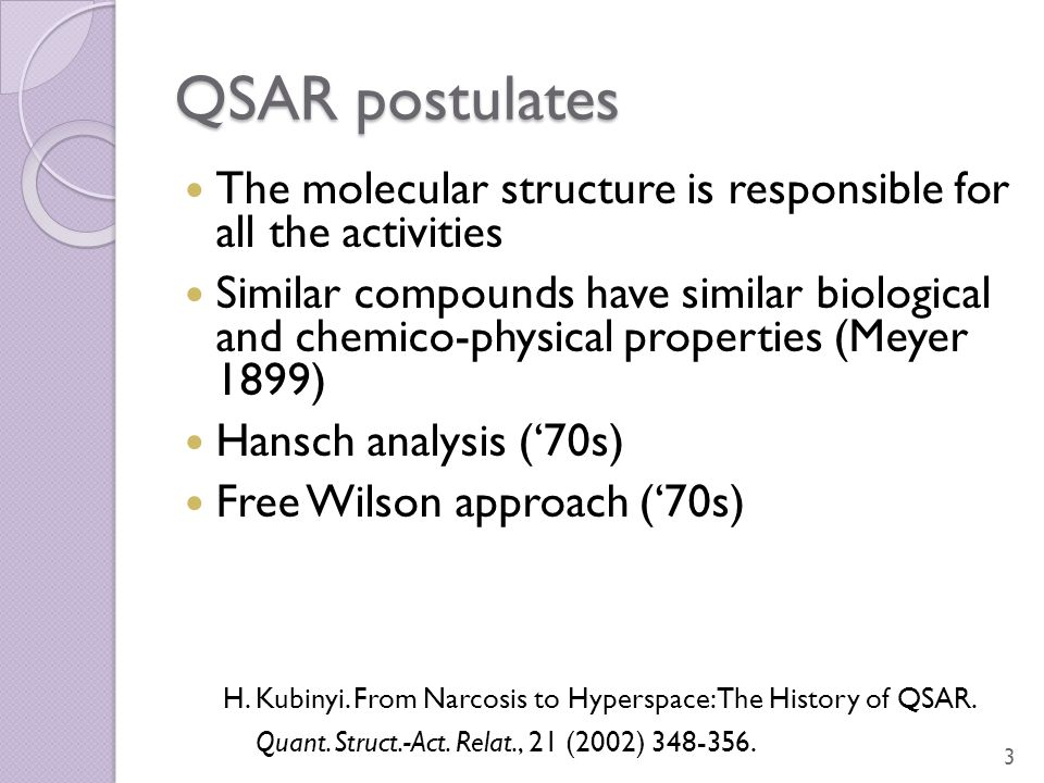 QSAR postulates The molecular structure is responsible for all the activities Similar compounds have similar biological and chemico-physical propertie