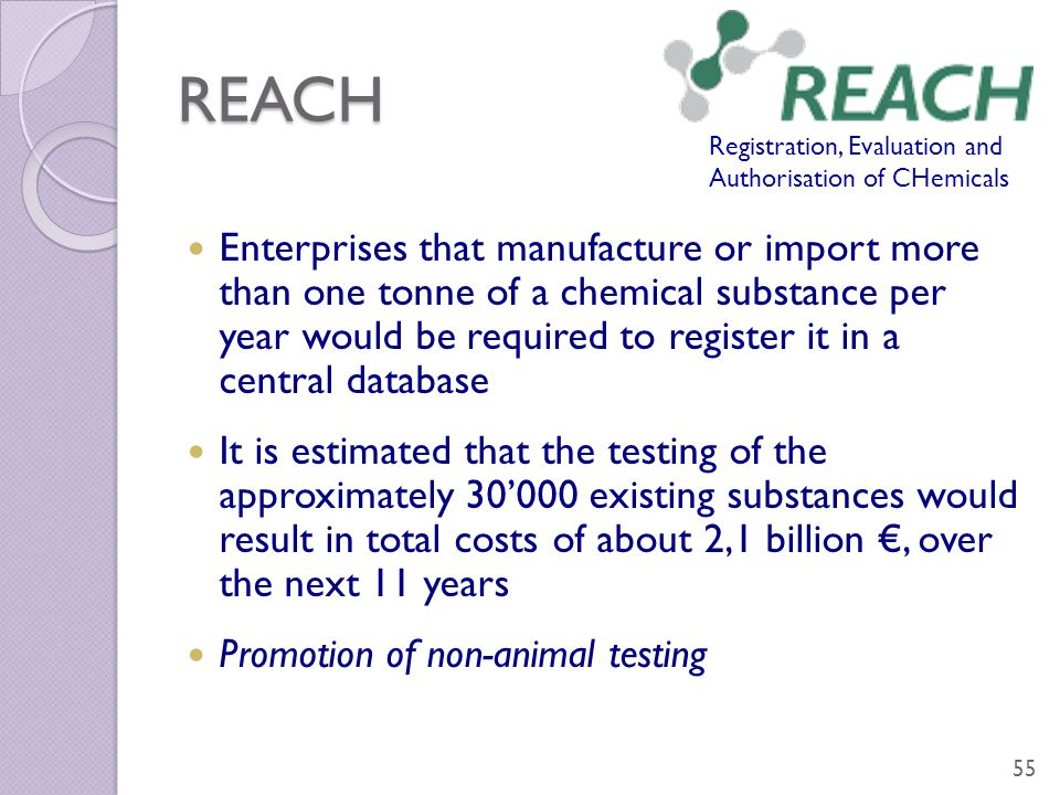 REACH Enterprises that manufacture or import more than one tonne of a chemical substance per year would be required to register it in a central databa