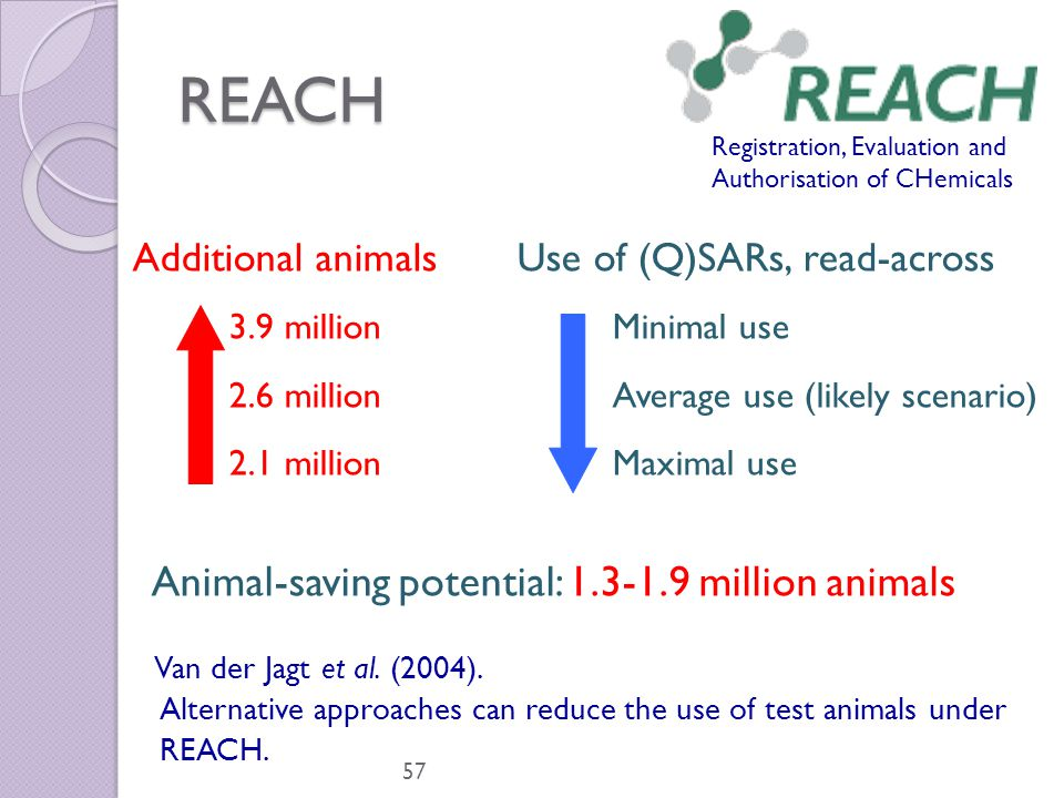 REACH 57 Registration, Evaluation and Authorisation of CHemicals Additional animalsUse of (Q)SARs, read-across 3.9 millionMinimal use 2.6 millionAvera