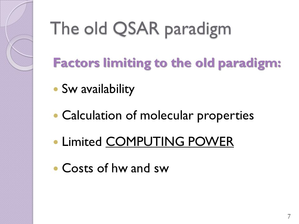 The old QSAR paradigm Factors limiting to the old paradigm: Sw availability Calculation of molecular properties Limited COMPUTING POWER Costs of hw an