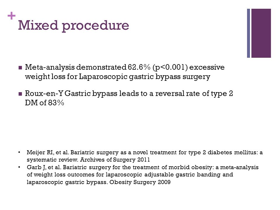 + Mixed procedure Meta-analysis demonstrated 62.6% (p<0.001) excessive weight loss for Laparoscopic gastric bypass surgery Roux-en-Y Gastric bypass le