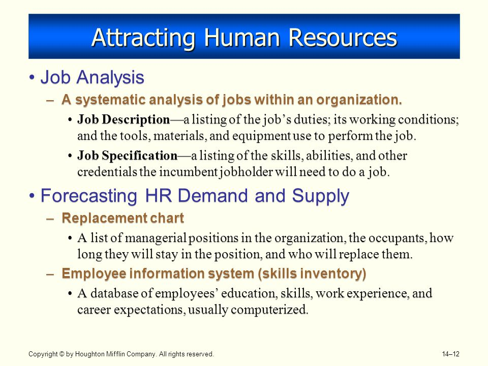 Copyright © by Houghton Mifflin Company. All rights reserved. 14–12 Attracting Human Resources Job Analysis –A systematic analysis of jobs within an o