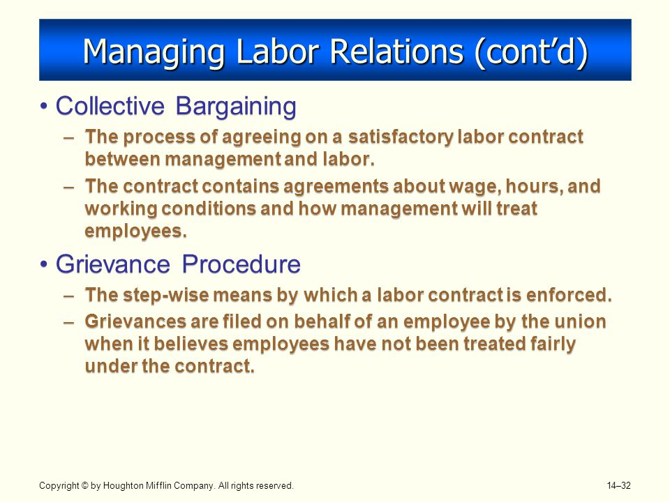 Copyright © by Houghton Mifflin Company. All rights reserved. 14–32 Managing Labor Relations (cont'd) Collective Bargaining –The process of agreeing o