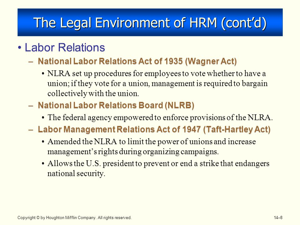 Copyright © by Houghton Mifflin Company. All rights reserved. 14–8 The Legal Environment of HRM (cont'd) Labor Relations –National Labor Relations Act