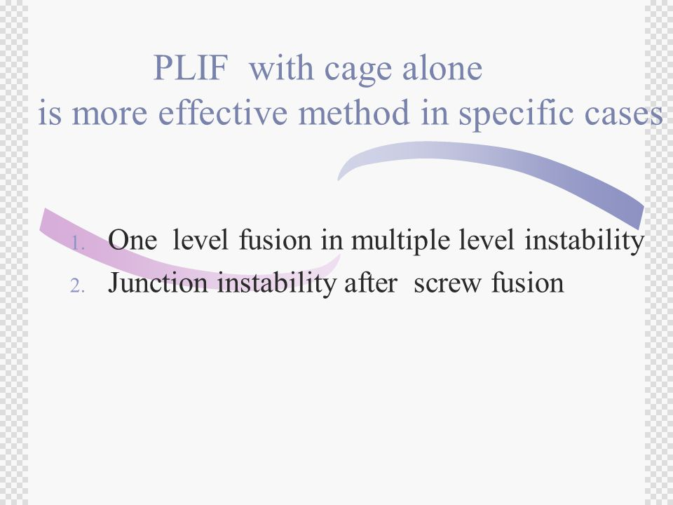 PLIF with cage alone is more effective method in specific cases 1.