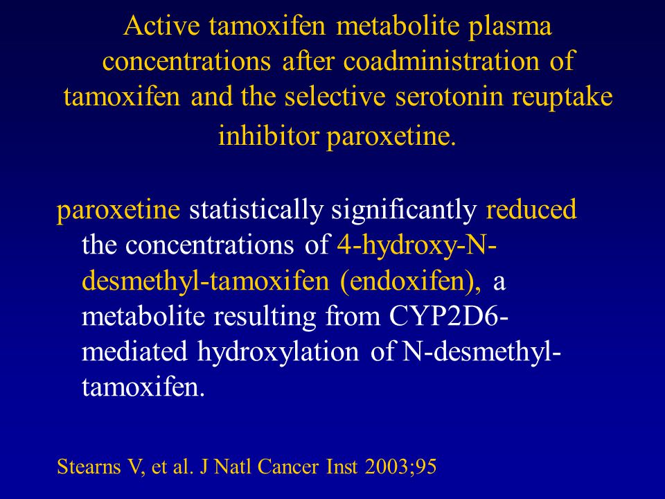 Active tamoxifen metabolite plasma concentrations after coadministration of tamoxifen and the selective serotonin reuptake inhibitor paroxetine. parox