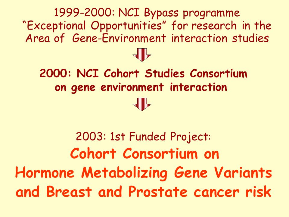 2003: 1st Funded Project : Cohort Consortium on Hormone Metabolizing Gene Variants and Breast and Prostate cancer risk 2000: NCI Cohort Studies Consortium on gene environment interaction 1999-2000: NCI Bypass programme Exceptional Opportunities for research in the Area of Gene-Environment interaction studies