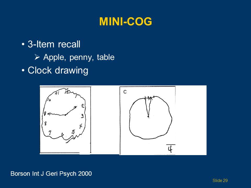 MINI-COG 3-Item recall  Apple, penny, table Clock drawing Borson Int J Geri Psych 2000 Slide 29